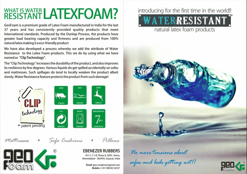 Water Resistant Natural Latex Foam Products using Clip Technology - GeoFoam